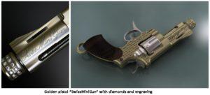 A golden handgun with diamonds